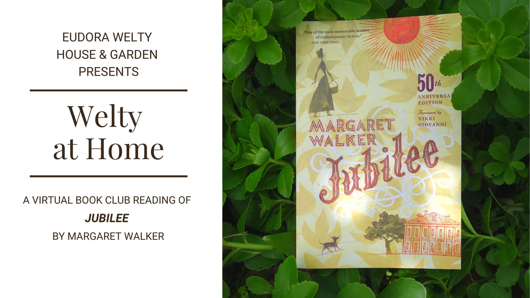 Cover of Jubilee book by Margaret Walker surrounded by greenery beside text graphic with book club details