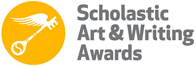 Scholastic Art & Writing Awards gold-and-white color logo with gold key emblem.